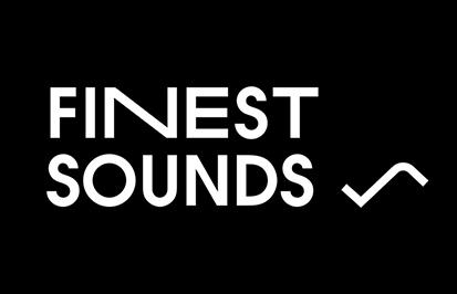 Finest Sounds -hankkeen tekstilogo mustalla taustalla.