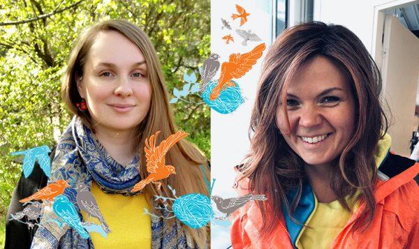 Kasvokuvat kahdesta hymyilevästä naisesta, kuvan päälle lisätty piirroskuvia lentävistä linnuista.