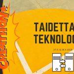 Creathon* -hankkeen mainos, jossa lukee Taidetta ja Teknologiaa, taustana betoninen maa.