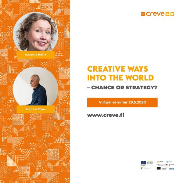 A leaflet for a virtual seminar called Creative ways into the world.