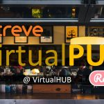 A header image for Creve's Virtual PUB. Text superimposed on a background picture of a restaurant.