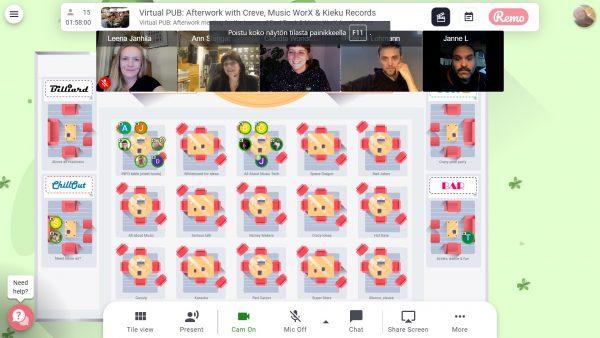 VirtualPUB: Afterwork-tapahtuma toteutetaan vuorovaikutteisella Remo-alustalla, jossa osallistujat voivat liikkua huoneessa pöytien ja huoneiden välillä.