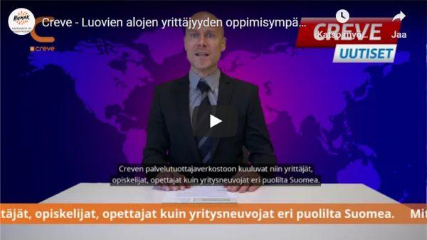 Creve, luovien alojen oppimisympäristö. Kuvituskuva, ruutukaappaus Creven esittelyvideosta, jossa uutistenlukija kertoo Crevestä.