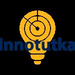 Innotutka-hankkeen logo. Keltainen hahkulampun muotoinen tutkataulu, päällä tummansinisellä teksti Innotutka.